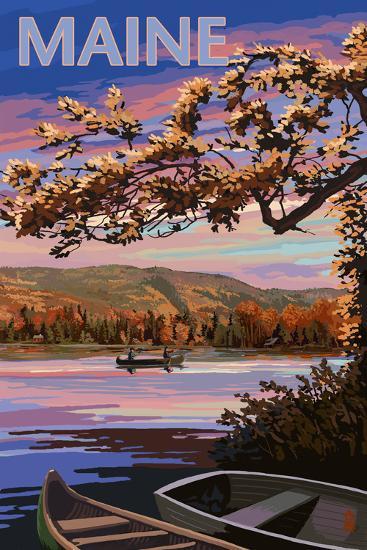 Maine - Lake at Dusk-Lantern Press-Art Print