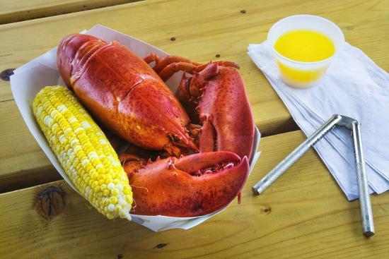 Maine Lobster and Corn on the Cob-Jon Hicks-Photographic Print