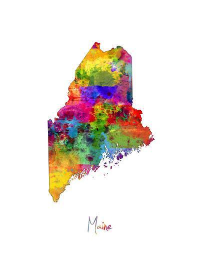 Maine Map-Michael Tompsett-Art Print