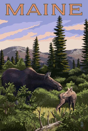 Maine - Moose and Baby Scene-Lantern Press-Art Print