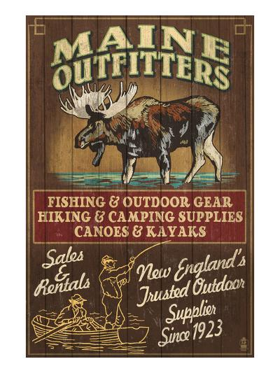 Maine Moose Outfitters-Lantern Press-Art Print