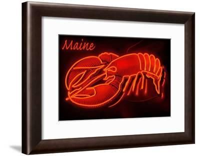 Maine - Neon Lobster Sign-Lantern Press-Framed Art Print