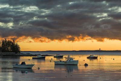 Maine, Newagen, Sunset Harbor View by the Cuckolds Islands-Walter Bibikow-Photographic Print