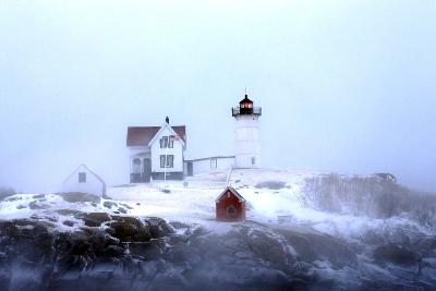 Maine's Nubble Lighthouse Shines on a Cold Winter's Day-Robbie George-Photographic Print