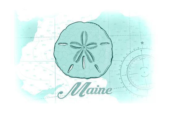 Maine - Sand Dollar - Teal - Coastal Icon-Lantern Press-Art Print