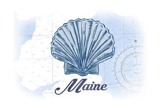 Maine - Scallop Shell - Blue - Coastal Icon-Lantern Press-Art Print