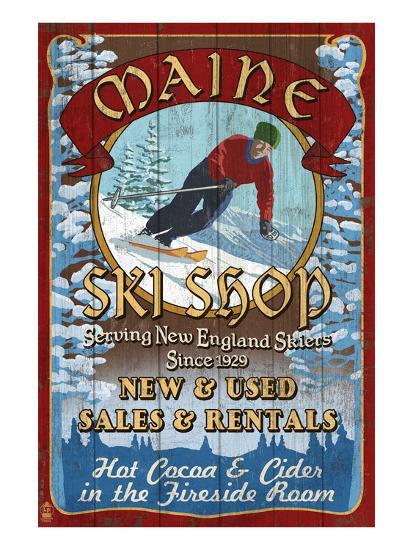 Maine Ski Shop-Lantern Press-Art Print