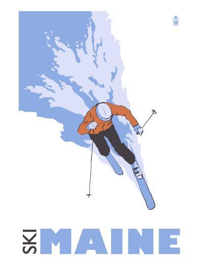 Maine, Skier Stylized-Lantern Press-Art Print