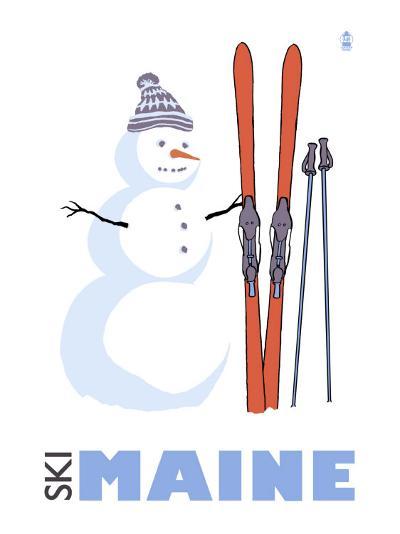 Maine, Snowman with Skis-Lantern Press-Art Print