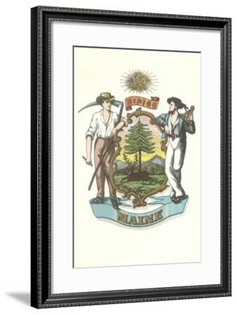 Maine State Seal--Framed Art Print