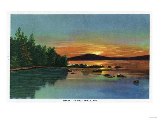 Maine - View of a Sunset on Bald Mountain-Lantern Press-Art Print