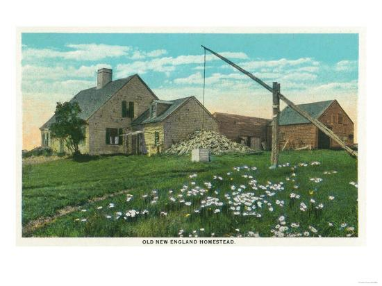 Maine - View of an Old New England Homestead-Lantern Press-Art Print