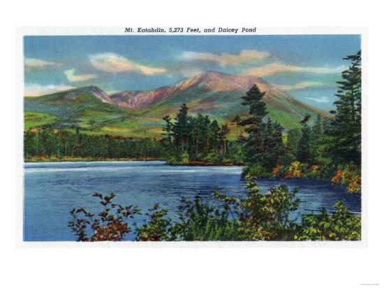 Maine - View of Mount Katahdin and Daicey Pond-Lantern Press-Art Print