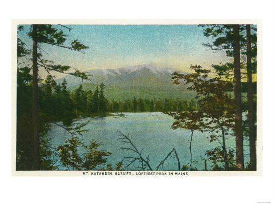 Maine - View of Mount Katahdin, Loftiest Peak in Maine-Lantern Press-Art Print