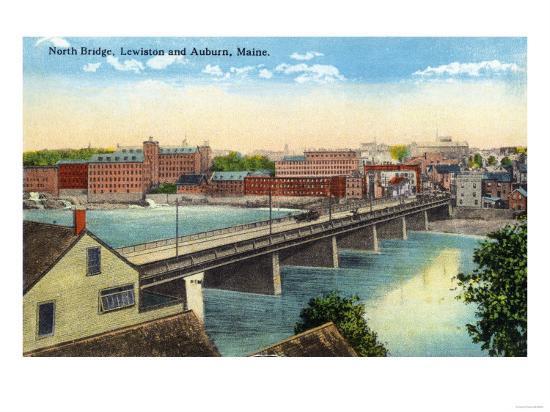 Maine - View of the North Bridge Connecting Lewiston and Auburn-Lantern Press-Art Print
