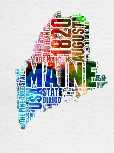 Maine Watercolor Word Cloud-NaxArt-Art Print