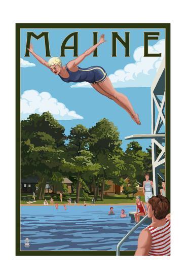Maine - Woman Diving and Lake-Lantern Press-Art Print