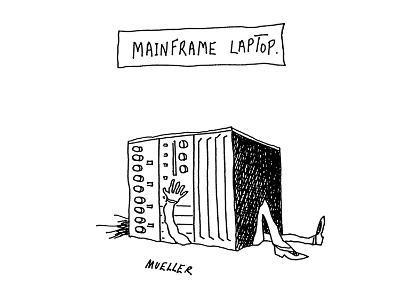 Mainframe Laptop - Cartoon-Peter Mueller-Premium Giclee Print