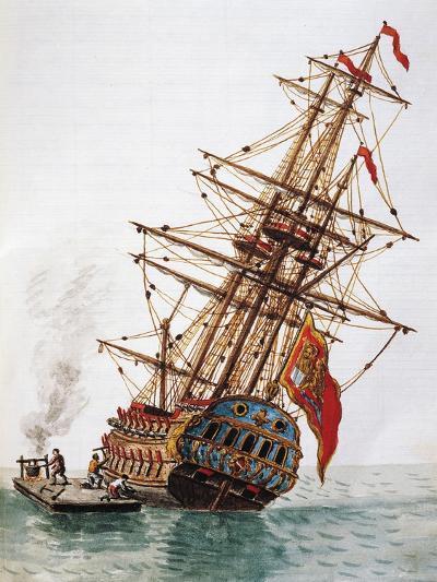 Maintenance of Hull of Ship--Giclee Print
