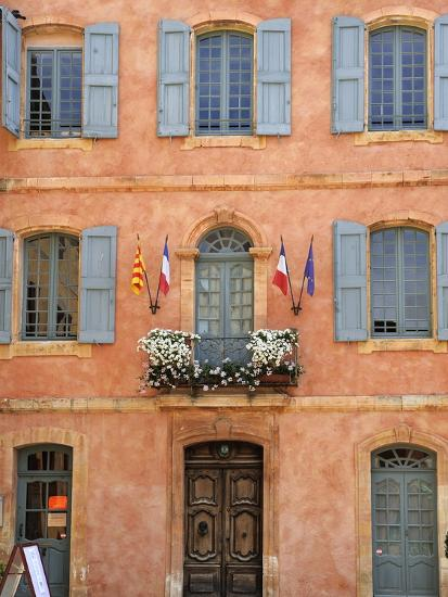 Mairie Office with Typical Ochre Coloured Walls, Roussillon, Parc Naturel Regional Du Luberon, Vauc-Peter Richardson-Photographic Print