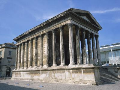 Maison Carree Temple in the Town of Nimes, in Languedoc Roussillon, France, Europe-Rainford Roy-Photographic Print