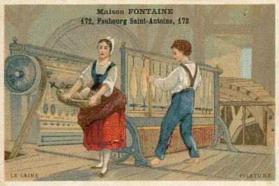 Maison Fontaine Trade Card, Wool Spinning--Giclee Print