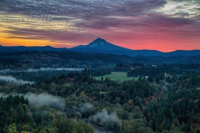 Majestic Sunrise at Jonsrud Viewpoint, Portland, Oregon, Mount Hood-Vincent James-Photographic Print