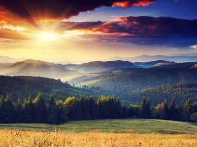 Majestic Sunset in the Mountains Landscape. Dramatic Sky. Carpathian, Ukraine, Europe.-Creative Travel Projects-Photographic Print