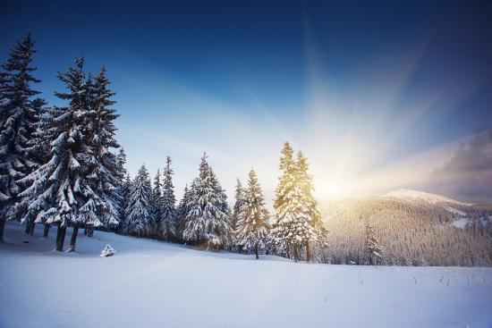 Majestic Sunset in the Winter Mountains Landscape. HDR Image-Leonid Tit-Photographic Print