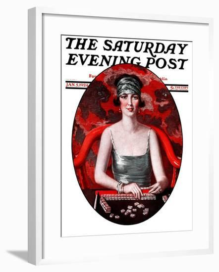 """Majong,"" Saturday Evening Post Cover, January 5, 1924-Henry Soulen-Framed Giclee Print"