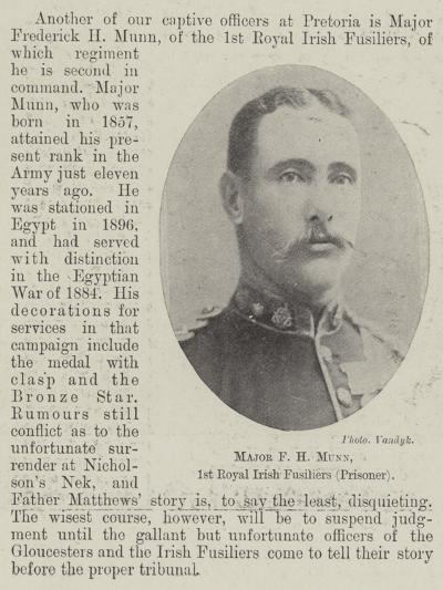 Major F H Munn, 1st Royal Irish Fusiliers (Prisoner)--Giclee Print