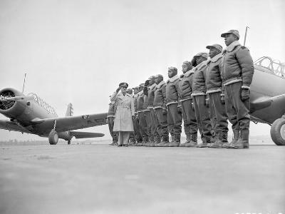 Major James Ellison Reviews First Class of Tuskegee Airmen--Photo