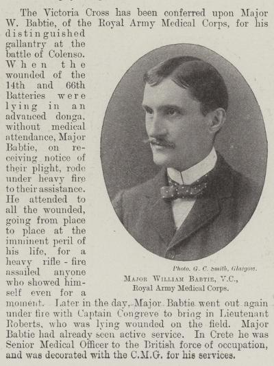 Major William Babtie, Vc, Royal Army Medical Corps--Giclee Print
