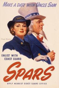 Make a Date with Uncle Sam. Enlist with Coast Guard Spars, US Coast Guard Women's Reserve Poster
