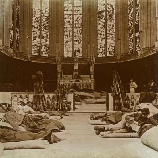 Makeshift barracks in a church, Marne, northern France, 1914-Unknown-Photographic Print