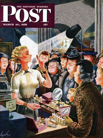 """Makeup Counter"" Saturday Evening Post Cover, March 10, 1951-Constantin Alajalov-Giclee Print"
