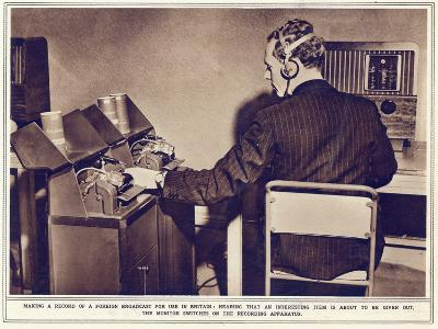 Making a Record of a Foreign Broadcast for Use in Britain--Photographic Print