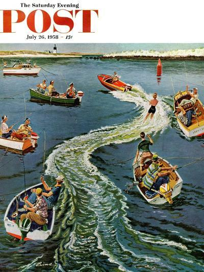 """""""Making a Wake"""" Saturday Evening Post Cover, July 26, 1958-Ben Kimberly Prins-Giclee Print"""