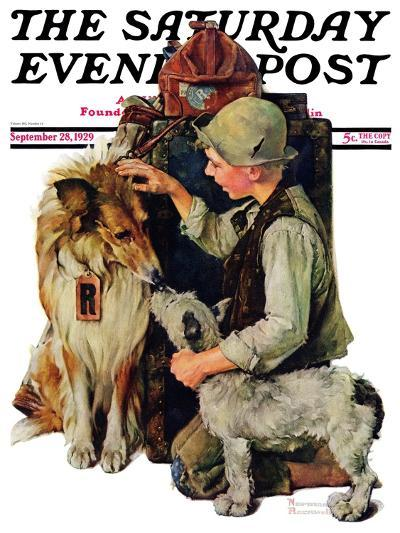"""Making Friends"" or ""Raleigh Rockwell"" Saturday Evening Post Cover, September 28,1929-Norman Rockwell-Giclee Print"