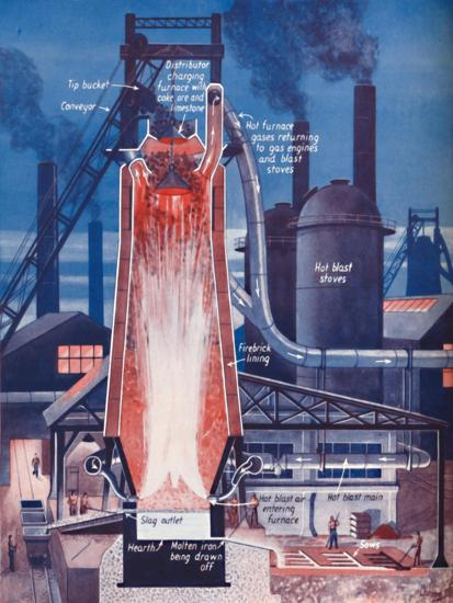 'Making Iron in a Modern Blast Furnace', 1935-Unknown-Giclee Print