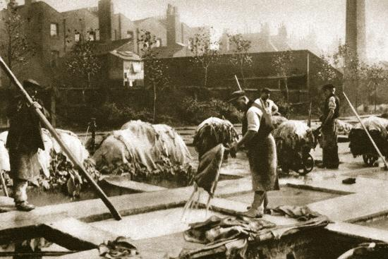 Making leather in the lime yard at Neckinger Mills, London, 20th century-Unknown-Photographic Print