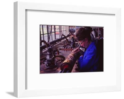 Making printing roller, Sandersons, London, c1960s-Sandersons-Framed Photographic Print