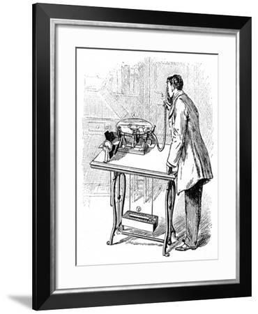Making Recordings on Emile Berliner's Gramophone, C1887--Framed Giclee Print
