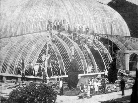 Making repairs to the Great Conservatory at Chatsworth, Derbyshire, late 19th century-Unknown-Photographic Print