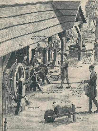 'Making Rope in the Days of the Tudors', c1934-Unknown-Giclee Print
