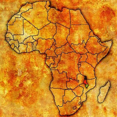 Malawi on Actual Map of Africa-michal812-Art Print