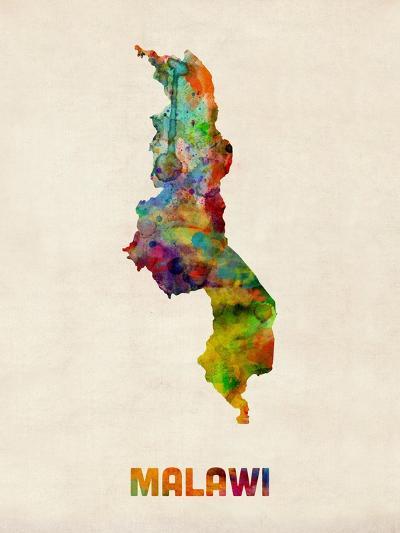 Malawi Watercolor Map-Michael Tompsett-Art Print