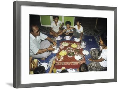 Malay Family Eating an Iftar Meal Following the End of the Day'S Fast During the Month of Ramadan--Framed Photographic Print