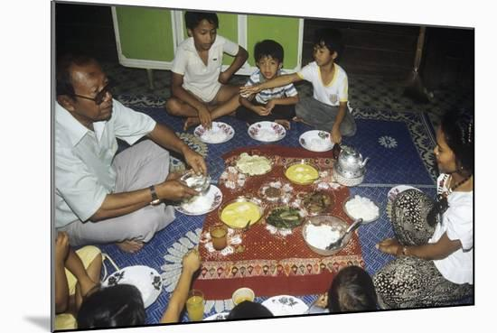 Malay Family Eating an Iftar Meal Following the End of the Day'S Fast During the Month of Ramadan--Mounted Photographic Print