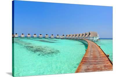 Maldive Water Villa Panorama--Stretched Canvas Print